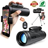 Monocular Telescope High Power, 12x50 Dual Focus Low Night Vision Waterproof Monoculars Scope for Adults Compact with Cell Phone Adapter for Bird Watching Hunting Camping Traveling Wildlife Scenery (Color: 12x50)