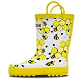 LONECONE Rain Boots with Easy-On Handles in Fun Patterns for Toddlers and Kids, White Bees, Toddler 4