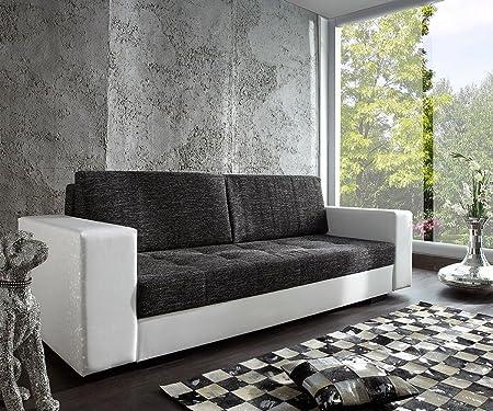 Couch Giorgio Weiss Schwarz 250x100 Schlafsofa inklusive Bettkasten