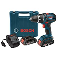 Bosch DDS181-02 18-Volt Lithium-Ion 1/2-Inch Compact Tough Drill/Driver Kit with 2 High Capacity Batteries Charger and Case
