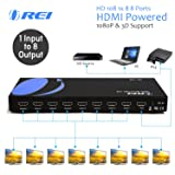 Orei HD-108 1x8 8 Ports HDMI Powered Splitter for Full HD 1080P & 3D Support (One Input to Eight Outputs) (Tamaño: 1x8)