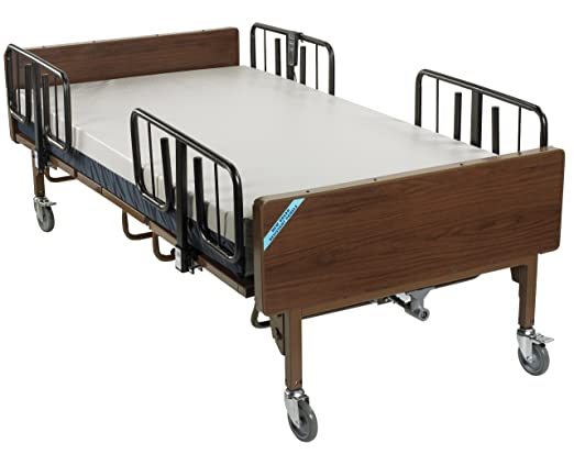 Drive Medical Full Electric Bariatric Hospital Bed with Mattress and 1 Set of T Rails, Model - 15300BV-PKG