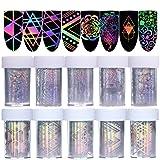 Born Pretty 10Rolls Nail Art Foil Sticker Holographic Laser Gradient Starry Sky Geometry Flower Manicure Transfer Decals