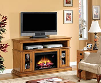 "ClassicFlame 26MM2209-O107 Brookfield TV Stand for TVs up to 65"", Premium Oak (Electric Fireplace Insert sold separately)"