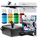 PointZero Cake Airbrush Decorating Kit - Airbrush, Compressor, and 4 Chefmaster Colors (Color: Multicolor)