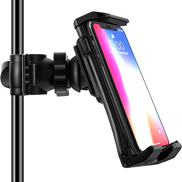 Frienda Cell Phone Tripod Mount Adapter Music//Microphone Stand Tablet Holder Compatible with iPhone X 8 7 Plus 6s Samsung Galaxy S8 S9 Note Google Pixel XL LG V30 Phones and iPad 9.7//10.5 Inch