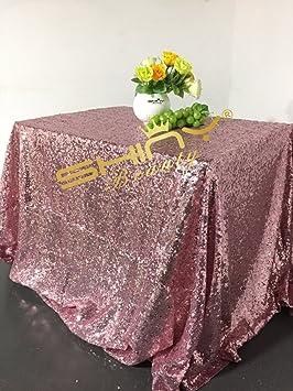 shinybeauty fucsia rosa tela mantel de lentejuelas brillante mantel para bodas/fiestas/Halloween/decoración de Navidad (una PC 90en redonda y una PC 90x 280in rectangular)
