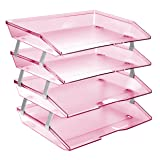 Acrimet Facility Letter Tray 4 Tiers (Clear Pink Color) (Color: Clear Pink Color, Tamaño: A4)