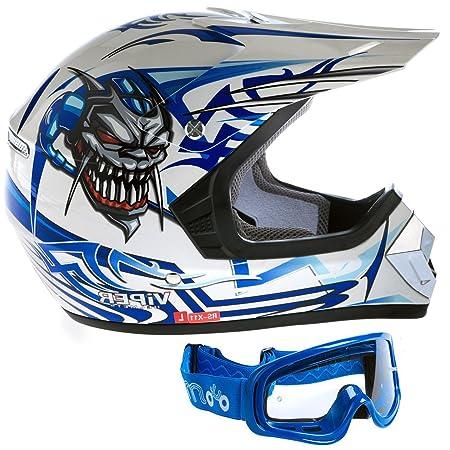 Viper casque RS-X11 enfants casque de moto motocross couleur Bleu L (lunettes bleues)