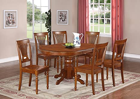 East West Furniture AVPL7-SBR-W 7-Piece Dining Table Set