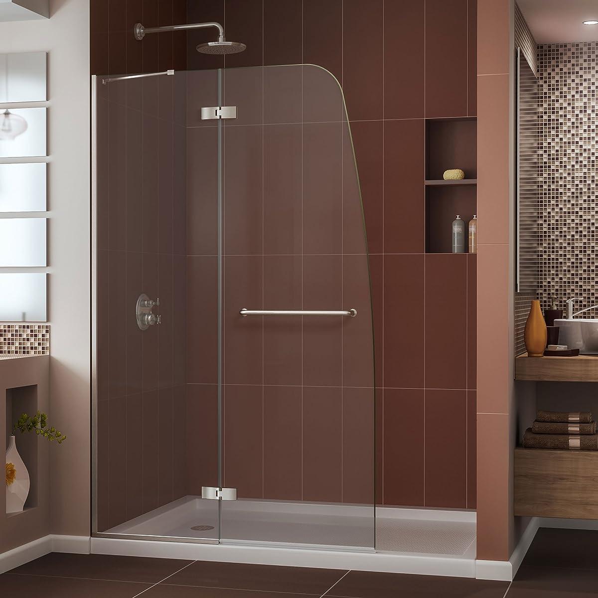 "DreamLine Aqua Ultra 45 in. Width, Frameless Hinged Shower Door, 5/16"" Glass, Brushed Nickel Finish"