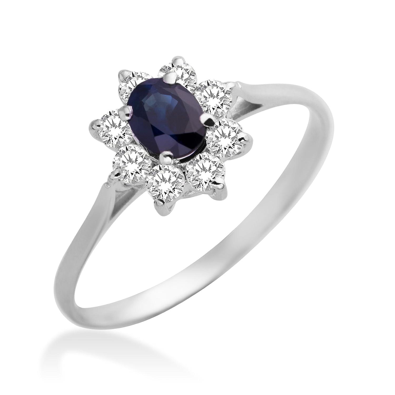 Miore Damen-Ring 375 Weißgold 9 Karat 1 blauer Safir und Zirkonia MA950ZR online bestellen