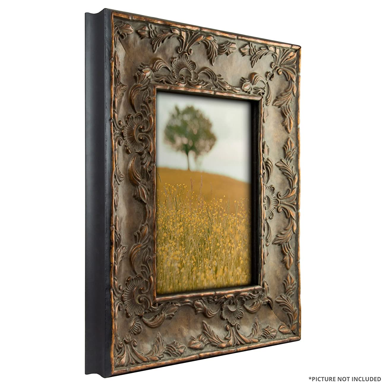 Craig Frames 10723 8 by 10-Inch Picture Frame, Solid Wood Core, Embossed Leaf Finish, 3.25-Inch Wide, Antique Gold 2