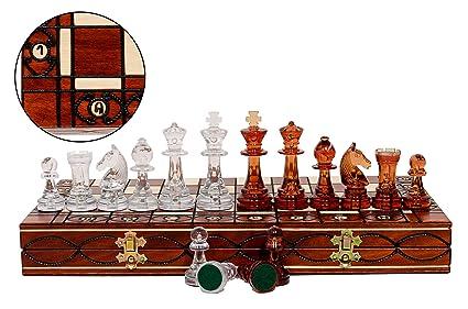 AMBER 40cm / 16in Translucent Plastic Staunton Figures sur Échiquier en bois, jeu classique