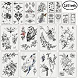 DaLin Sexy Floral Temporary Tattoos for Women Men Black Rose Flowers Collection (Color: Black Flowers)