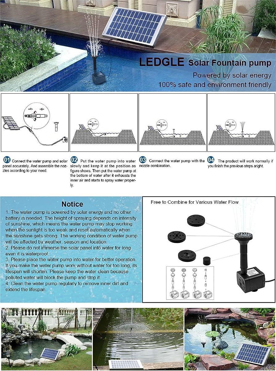LEDGLE 5W Solar Fountain Pump Garden Water Pump for Courtyard,Maximum Flow 380L/h
