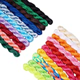 PH PandaHall 20 Colors 1mm Chinese Knotting Cord Nylon Shamballa Macrame Thread Cord Beading String for Bracelet Making(About 400m/ 430yards) (Color: 20 Colors 1mm - 430 Yards, Tamaño: 1mm)