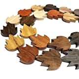 [ABCgems] Premier-Wood-Collection (Rainbow Combination- Up to 12 Different Exotic Hardwood) Precision-Cut 25X30X5mm Hand-Carved Smooth Flat Maple-Leaf Wood Beads (No Clasp) (Color: Maple Leaf, Tamaño: 8) 26mm & Over)