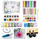 50 Pack Resin Jewelry Making Supplies Kit LET'S RESIN Art Craft Supplies for Resin, Slime, Nail Art, DIY Craft, Including Glitter Sequins,Pearl Pigment, Mylar Flakes, Dry Flowers, etc (Color: Resin Fillers)