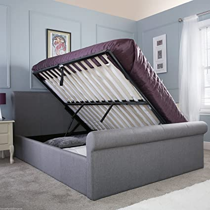 Hf4you Carolina Hopsack Fabric Ottoman Bedstead - 4FT6 Double - Silver - 1000 Pocket Memory Mattress