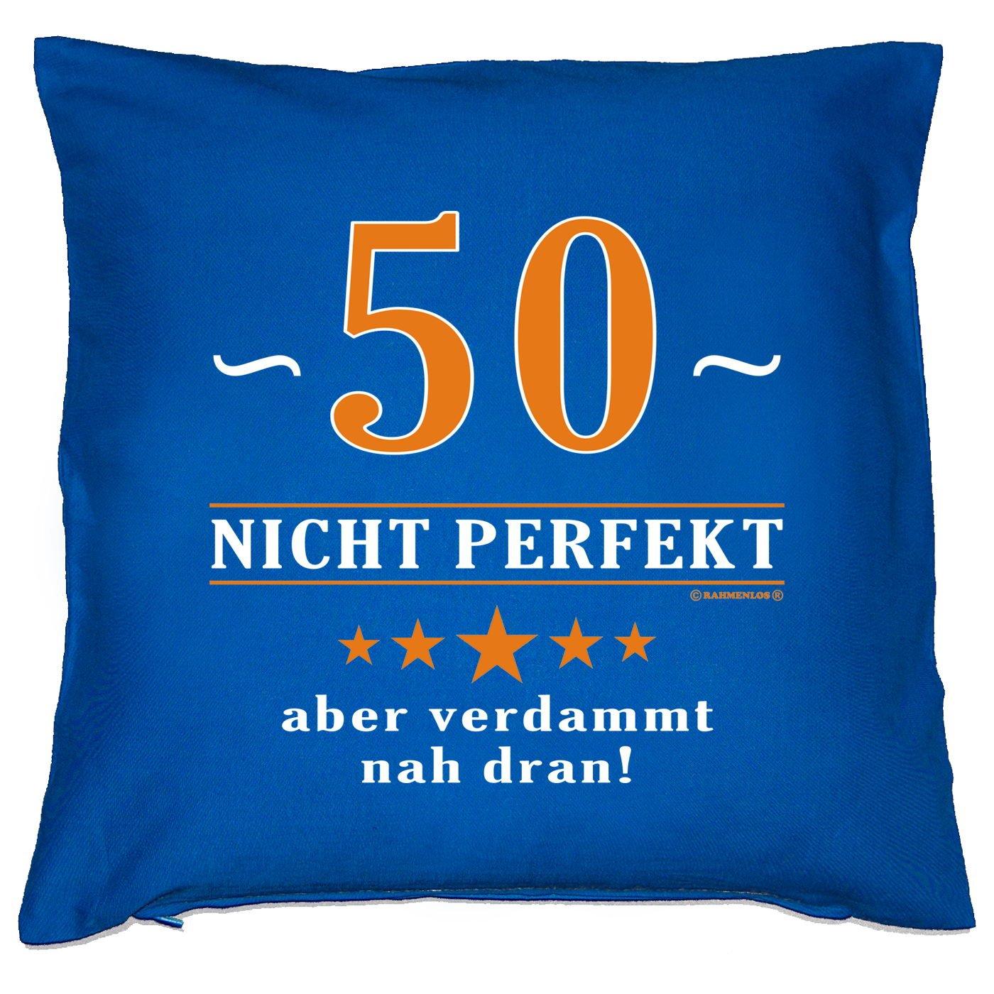 Kissen mit Innenkissen - 50 - nicht perfekt aber verdammt nahe dran! - zum 50. Geburtstag Geschenk - 40 x 40 cm - in royal-blau