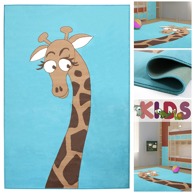 Kinderteppich Spielteppich mit niedlicher Giraffe in Hellblau | Teppich mit Tier Motiv für Mädchen & Jungen | Kids Teppiche fürs Kinderzimmer, Babyzimmer & Spielzimmer, Farbe:Blau;Größe:160×225 cm günstig