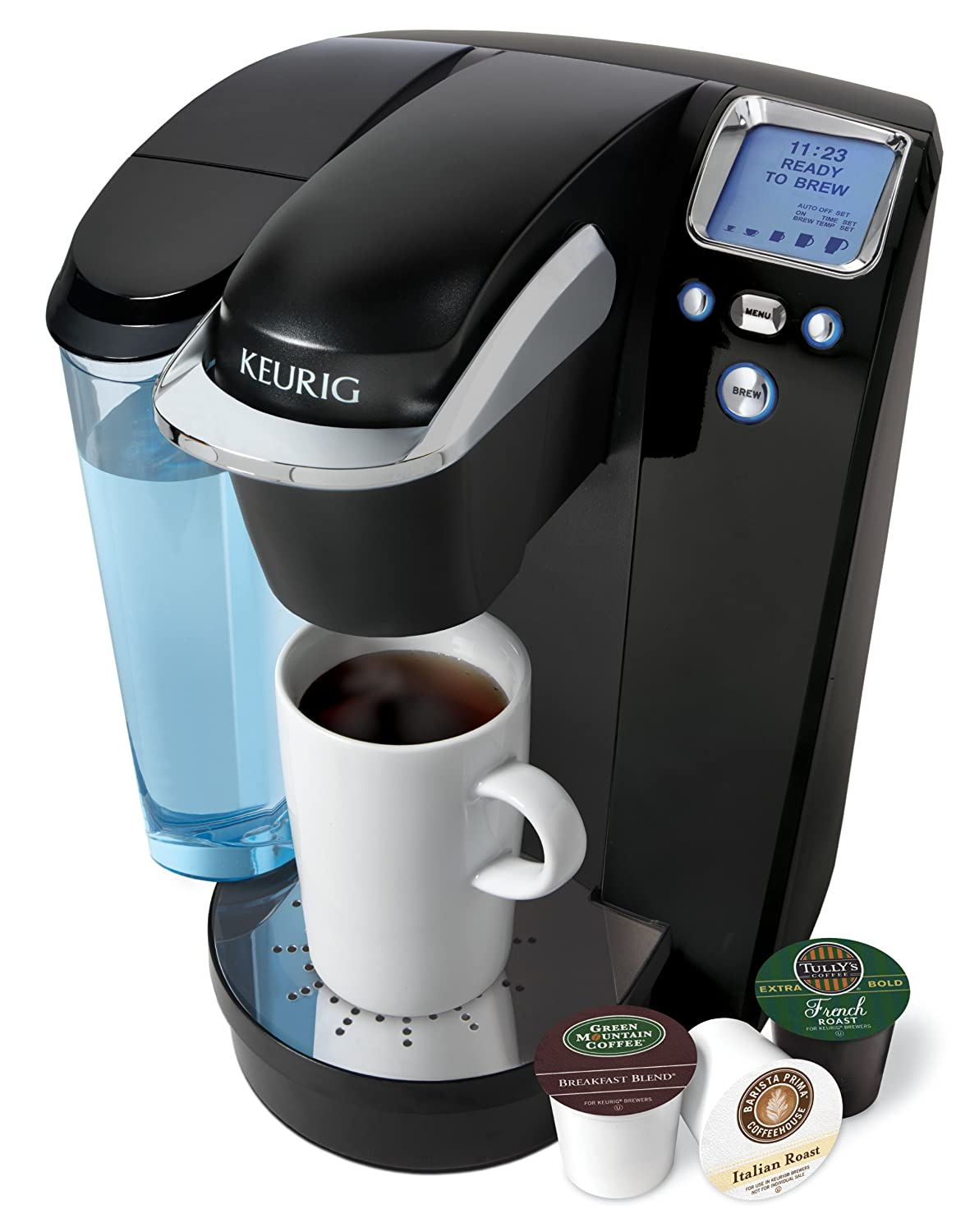 Keurig K75 Single-Cup Home-Brewing System with Water Filter Kit, Platinum/Black