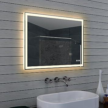 Design specchio da bagno con dimmer, caldo e freddo bianco e interruttore touch 80x 60cm
