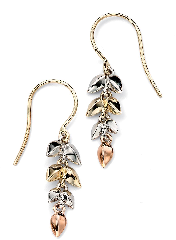 Elements Gold Hängeohrringe, 9 kt Gelbgold, weißen und Damen Ohrhänger Rosé-Gold Blätter bestellen