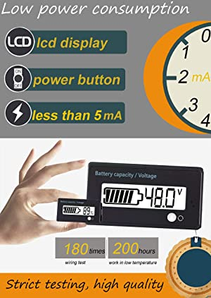 Multifunctional Battery Capacity Monitor 48V LCD Battery Fuel Gauge Indicator Meter for Lead-Acid Battery Motorcycle Golf Cart Car, White (Color: Multifunction-White)