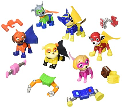 Spin Master - 6027368 - Paw Patrol Action Pack Rescue Team - Set 6 figurines - Everest, Marshall, Rubble, Chase, Skye and Ryder + Badge la pat patrouille