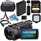 Sony FDR-AX53 FDRAX53 4K Ultra HD Handycam Camcorder + Rechargable Li-Ion Battery + Sony 32GB SDHC Card + Carrying Case + Flexible Tripod + HDMI Cable + Card Wallet + Card Reader + Fibercloth Bundle (Color: Standard)