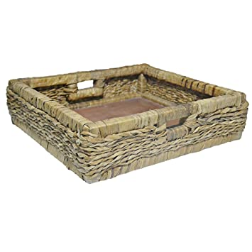 J Christian Designs Fiber Hand Woven Basket for Media Unit Furniture, Natural