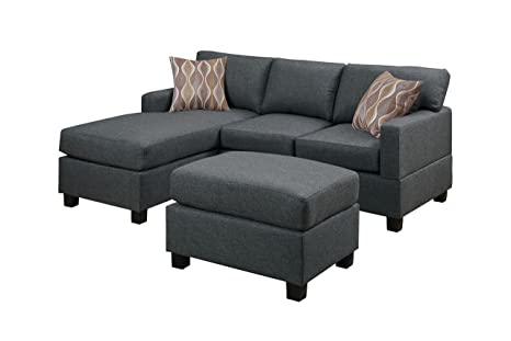 Poundex Bobkona Lexington Blended Linen 3-Piece Reversible Sectional Sofa with Ottoman, Blue Gray