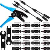 Solar Panel Tools Kit Assembly Including 10 Pairs Female and Male Connectors for MC4, 2 Pieces Spanner for MC4, Y Branch Connector and Solar Crimping Tool for MC4(Style B) (Tamaño: Style B)