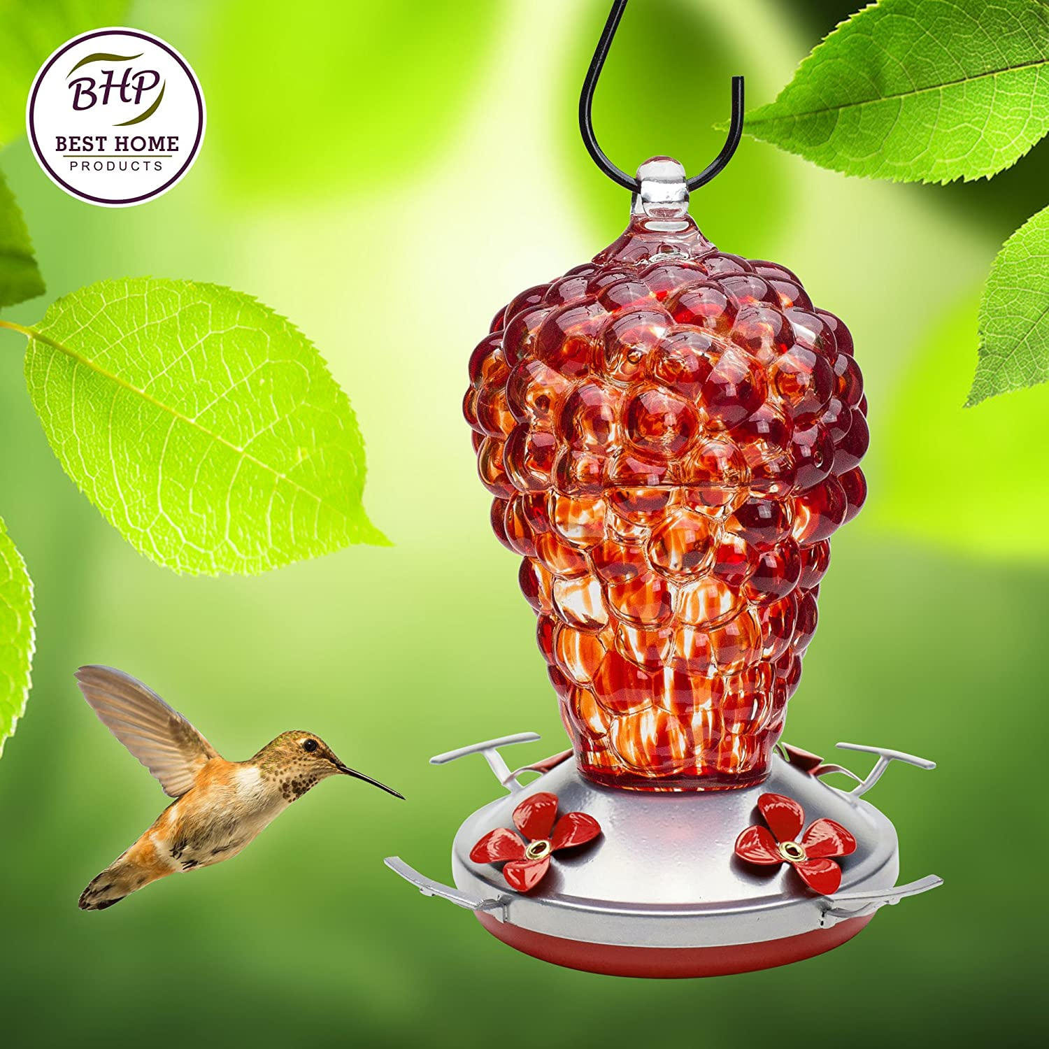 Hummingbird Feeder - HAND-BLOWN GLASS Feeders
