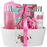 Relaxing Bath Spa Kit For Men, Women and Teens, Gift Set Bath And Body Works- Natural English Rose Aromatherapy Spa Gift Basket Includes Shower Gel, B