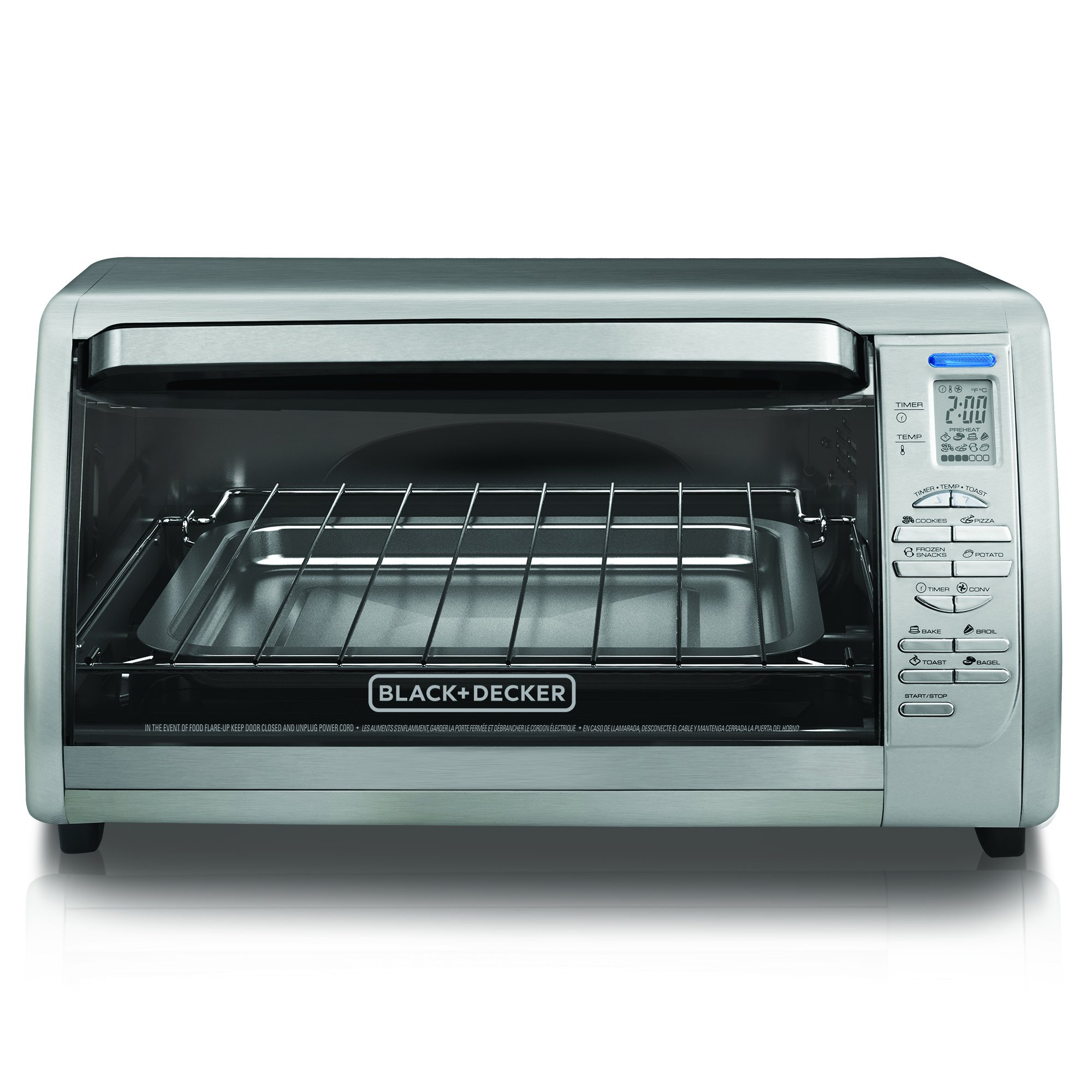 Black decker cto6335s stainless steel countertop convection oven silver ebay for Toaster oven stainless steel interior