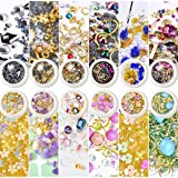 editTime 12 Wheels Mixed Sparkle Nail Art Rhinestones Diamonds Crystals Beads Artificial Pearls and Gold Silver Nail Studs Gems Metal Rivets Charms Hollow Moon Star Shaped (white) (Color: white)