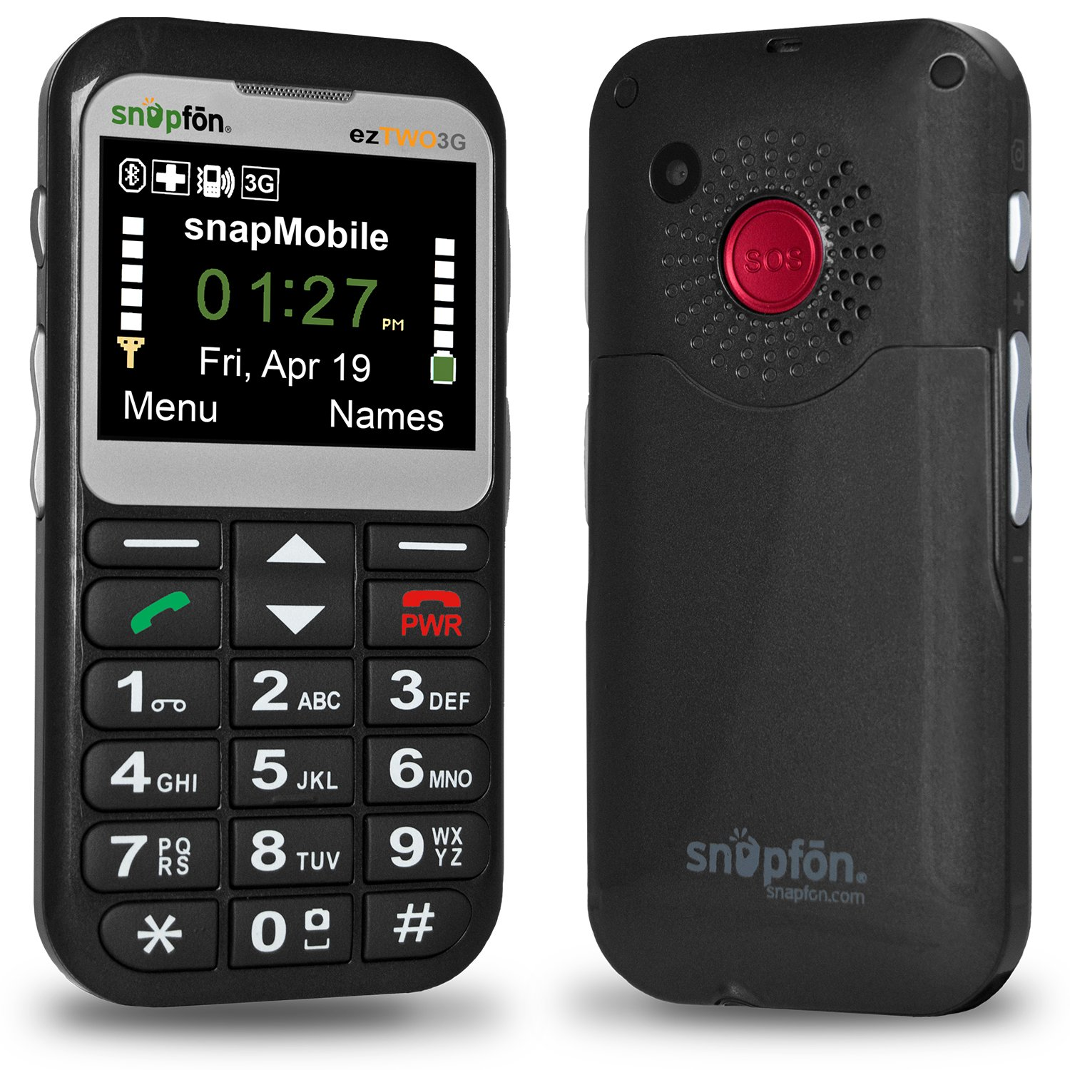 Snapfon ezTWO Senior Cell Phone, SIMPLE and Easy to Use, SOS Button, Hearing Aid Compatible, UNLOCKED GSM