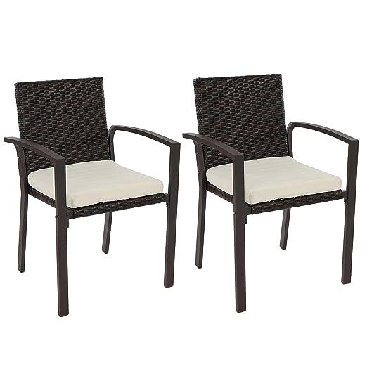 Set 2x sedie giardino Palma II N85 polyrattan 54x55x85cm con cuscini ~ marrone
