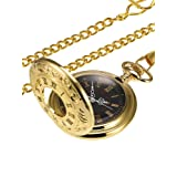 Vintage Gold Pocket Watch Steel Men Watch with Chain