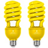 2 Pack BlueX CFL Yellow Bug Light Bulbs 24W - 100-Watt Equivalent - E26 Spiral Replacement Yellow Light Bulbs - Bulb Yellow Decorative Illumination - for Indoor or Outdoor Bug Bulb Colored Bulbs (Color: Yellow)