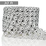 Bling Rhinestone Diamond Flower Shape Mesh Ribbon Wrap,Storystore Silver Acrylic Bling Diamond Wrap Ribbon for Wedding, Cake, Vase Decorations, Party Supplies(1 Roll, 30Ft,6 Rows)(Silver Flower Shape) (Color: Silver Flower Shape)