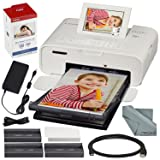Canon SELPHY CP1300 Compact Photo Printer (White) with WiFi and Accessory Bundle w/Canon Color Ink and Paper Set (Color: White, Tamaño: Printer + 1PK)