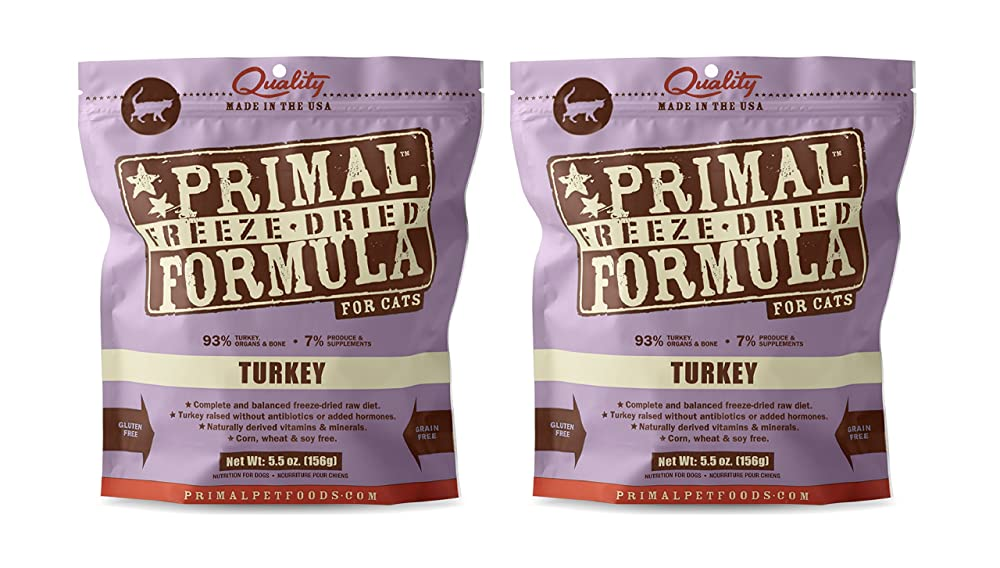 Primal Freeze Organic Dried cat food Nuggets for Cats 5.5 oz x 2 Packs - Turkey Formula