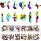 Nail Crystals AB 240 Pieces Nail Art Flat Back Rhinestones Gems Mixed Nail Diamond Stone for Nail Art Clothes Shoes Bags Crafts (240 Mix Shape)