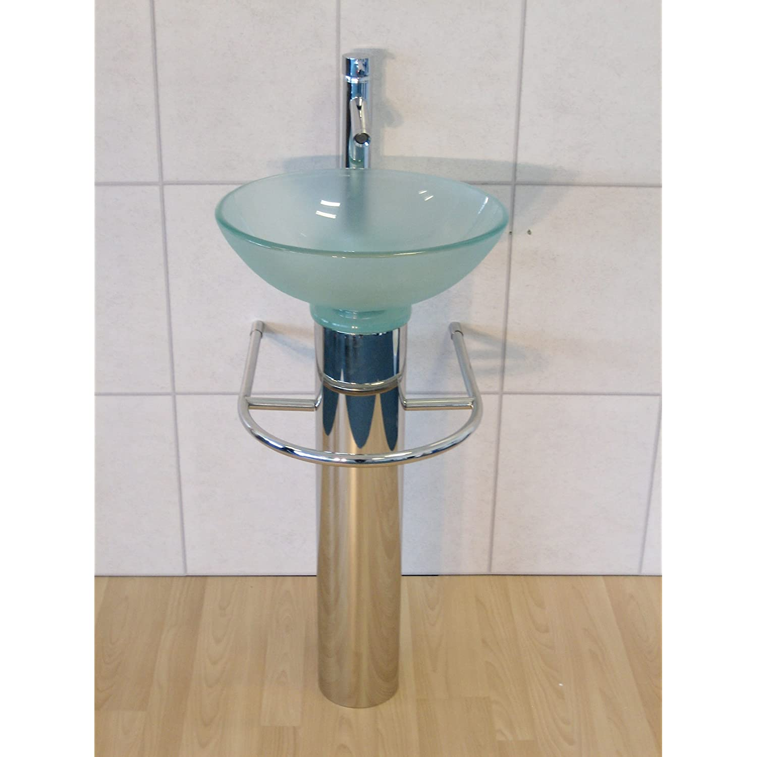 Round Pedestal Sink : Designer Bathroom Sink Round Clear Glass Wash Basin Pedestal Tap Trap ...