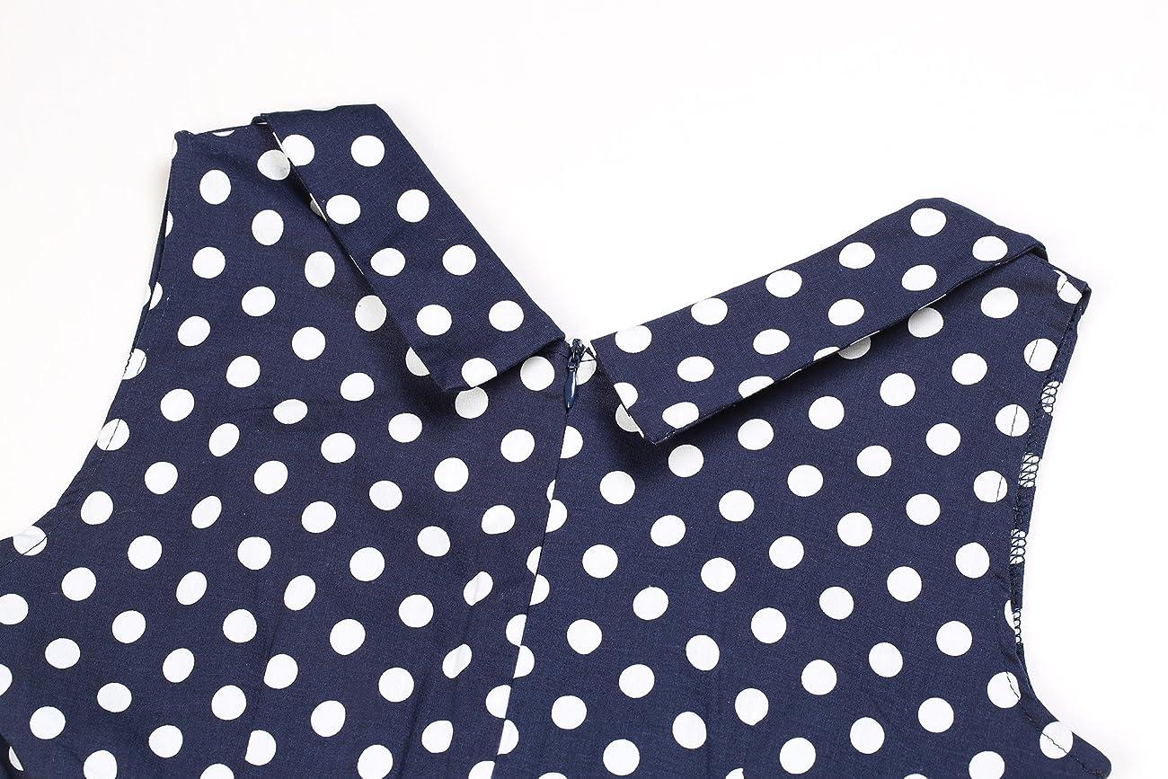 Creti Women's 1950s Vintage Halter Polka Dot V-Neck Sleeveless Swing Dress 2