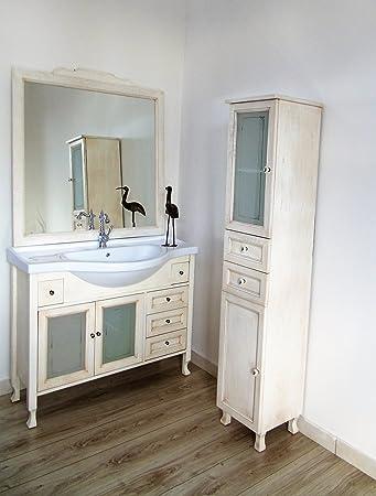 Arredo bagno avorio panna beige decape' decapato con colonna con ante e cassetti mobile bagno
